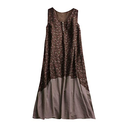 091ba46b0978f1 HIKO23 Women Boho Dress Casual Print A-Line Maxi Dresses Layer Vintage  Loose Sleeveless Cotton
