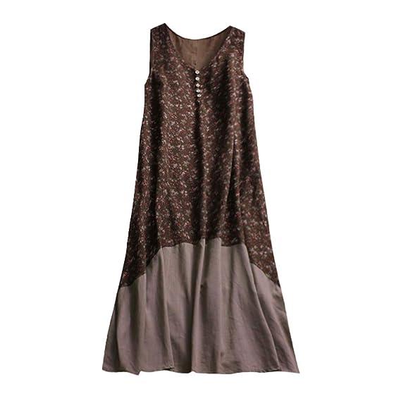 8fdb78d6eeb Retro Womens Boho Casual Cotton Linen Midi Dresses Vintage Loose V Neck  Button Down Sleeveless A Line Dress Plus Size Floral Kaftan  Amazon.co.uk   Clothing
