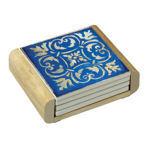 CounterArt Spanish Tiles-Blue Absorbent Coasters in Wooden Holder, Set of 4 ()