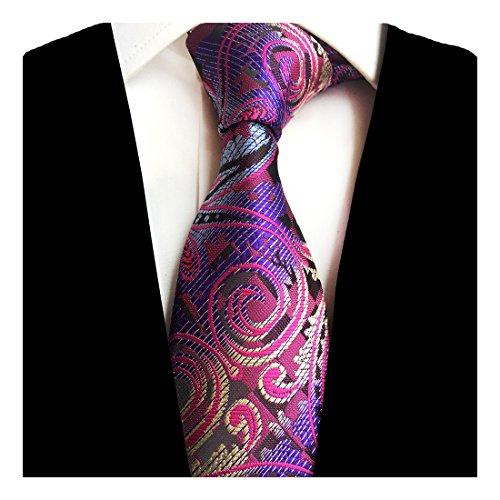 GUSLESON New 8cm Paisley Silk Ties Purple Necktie for (New Silk Mens Necktie Tie)