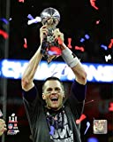 New England Patriots Tom Brady Holds The Super Bowl LI Trophy. 8x10 Photo Picture. (LI Trophy