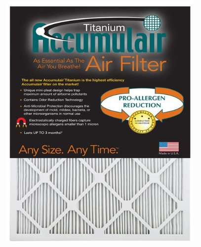 Accumulair Titanium 23.5x23.5x1 (23.1x23.1) High Efficiency Allergen Reduction Air Filter/Furnace Filters (2 pack) by Accumulair