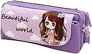 Bautiful Girl Pencil Pouch Organizer, TopRay Multi-Layer Cute Cartoon Beautiful Girl Korea Style Pencil Case P