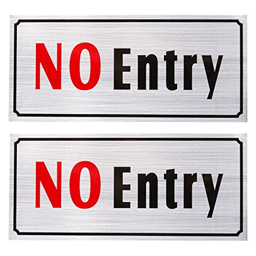 2-Pack of No Entry Signs - No Trespass Signs, Private Property Signs, Self Adhesive, Aluminum Privacy Signs for Office, Business and Home Use, Silver - 7.8 x 3.6 inches from Juvale