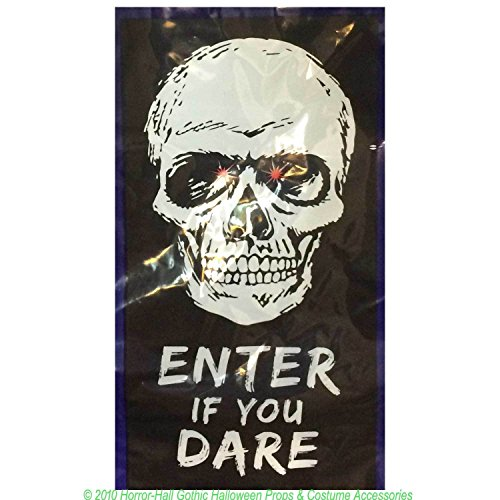 Spooky Gothic LIGHT UP DOOR COVER-Halloween Decoration--SKULL--ENTER IF YOU DARE