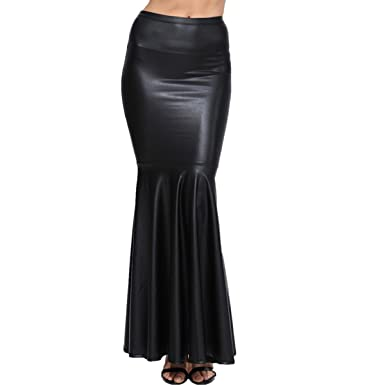 fdad3a7434 Taiduosheng Women Faux Leather Pleated High Waist Maxi Mermaid Black  Evening Skirt M