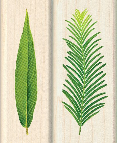 2pc Inkadinkado Leaf Wood Stamps for Arts and Crafts 2.75 L x 1 W and 1.25 L x 2.75 W