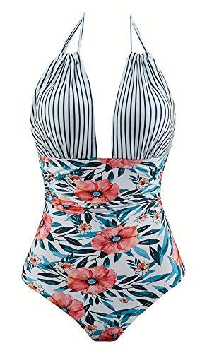 b262d7b6ca9 Eomenie One Piece Swimsuits for Women Slimming Monokini Tummy Control  Swimwear Plus Size Bathing Suits V