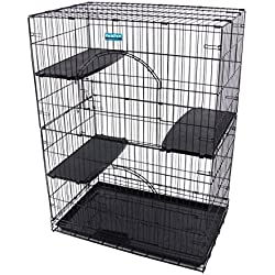 PARPET Foldable Cat Wire Cages/Pet Playpen,2 Door, Includes 3 Perches, Tray& 4 Locking Casters (Black)