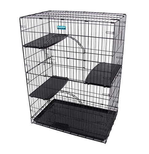 PARPET Foldable Cat Wire Cages/Pet Playpen,2 Door, Includes 3 Perches, Tray& 4 Locking Casters (Black) ()
