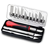 Fancii Precision Craft Knife Set 16 Pieces - Professional Razor Sharp Knives for Art, Hobby, Scrapbooking and Sculpture – Includes Stencil, Fine Point, Scoring, Chiseling Blades