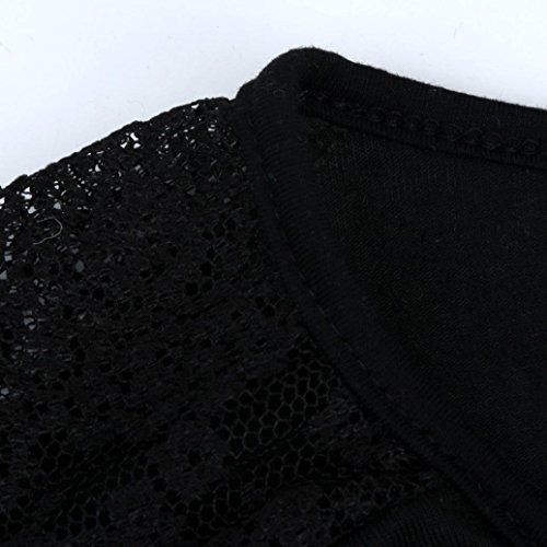 Section Tops shirt Casual Lâche Manches T V Pure Longue Courtes Splice Taille Plus Adeshop Chemises Blouse Asymétrie Dentelle Fashion Noir Couleur Femmes Serrée Col qwvBUB