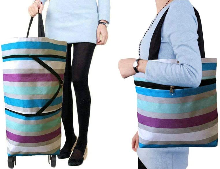 Collapsible Trolley Bags Folding Shopping Bag with Wheels Foldable Shopping Cart Reusable Shopping Bags Grocery Bags Shopping Trolley Bag on Wheels (Colorful Stripes)