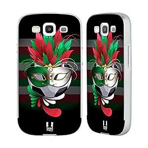 Head Case Designs Fútbol Carnaval Set 1Plata Marco Funda con marco de aluminio para móviles Samsung, compatible con Kompatibilität: Samsung Galaxy S3 III I9300