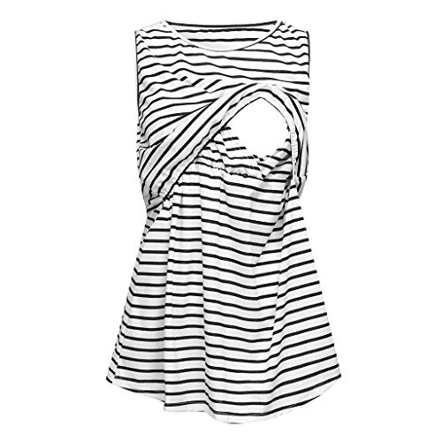 Mama Maternity Tunic Tops Side Ruched T-Shirt Casual Tank Top Flaps Shirt White ()