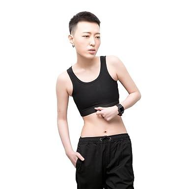 0941112978cd1 BaronHong Chest Binder Corset Cotton Short Tank Top for Tomboy Trans Lesbian (Black