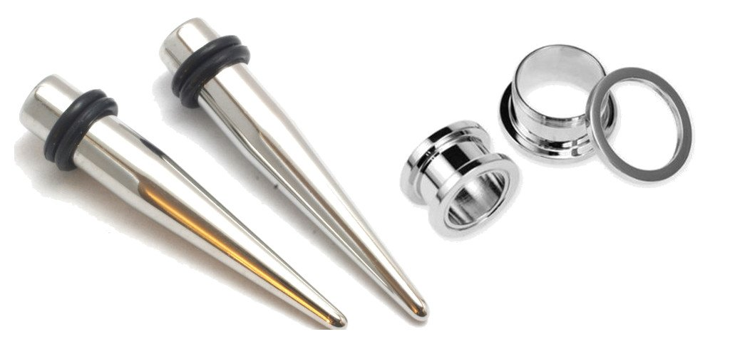 Zaya Body Jewelry Pair of 316l Stainless Steel Tapers and Screw Tunnels Ear Stretching Kit Gauges Plugs 00g 0g 1g 2g 4g 6g 8g 10g 12g (1g 7mm) by Zaya Body Jewelry