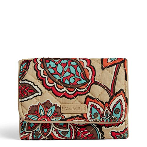 Vera Bradley Iconic RFID Riley Compact Wallet, Signature Cotton, Desert Floral (Travel Vera Wallet)