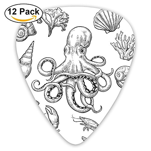 12-pack Fashion Classic Electric Guitar Picks Plectrums Crab Shrimp Octopus Sea Food Instrument Standard Bass Guitarist