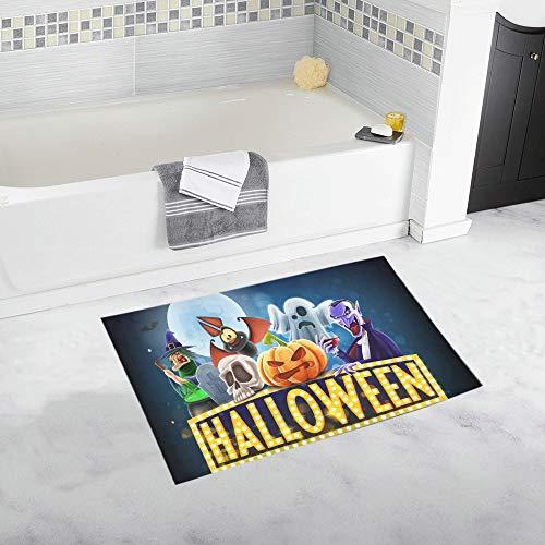 Halloween Banner Custom Non-Slip Bath Mat Rug Bath Doormat Floor Rug for Bathroom 20 X 32 Inch -