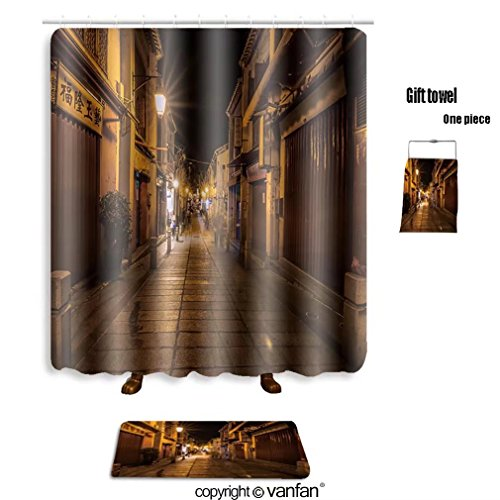 vanfan bath sets with Polyester rugs and shower curtain macau china nov old town architecture on nov shower curtains sets bathroom 66 x 72 inches&23.6 x 15.7 inches(Free 1 towel and 12 hooks)