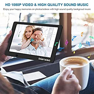 Digital Photo Frame 10 inch 1280×800 High Resolution Full IPS Display Picture/Video Frames Player Electronic Calendar Alarm On/Off Timer Support USB SD Card Image Auto Rotate with Remote Control