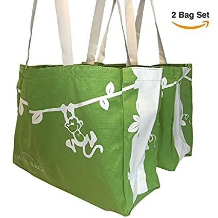 40411a13b Amazon.com  Cute Re Useable Grocery Shopping Bag Set. Heavy Canvas ...