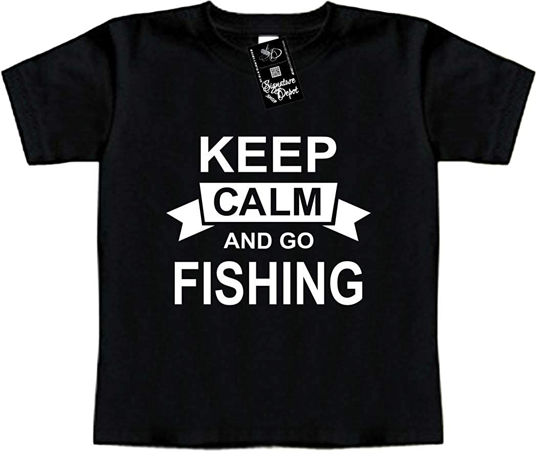 Sports /& REC Keep Calm and GO Fishing Signature Depot Funny Baby T-Shirt Toddler Tee