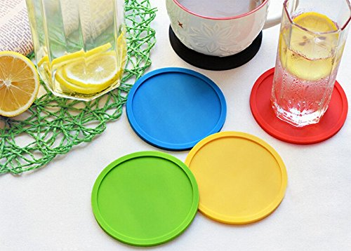 Hosaire Silicone Drink Coasters Great Grip, Easy To Clean, Protects Your Furniture - Spill Tray To Catch Condensation - For Coffee Cup, Wine Glass, Beer Bottle And All Other Beverages Blue 4 inch by Hosaire (Image #5)