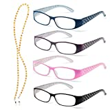 Specs Lightweight Reading Glasses, 4 Color Variety Pack, 2.75 Magnification, Quilted Crystal Design