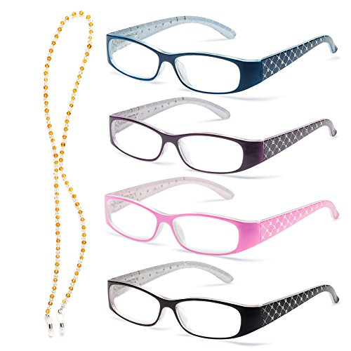 Specs Lightweight Reading Glasses, 4 Color Variety Pack, 2.75 Magnification, Quilted Crystal - Wide Reading Face Glasses