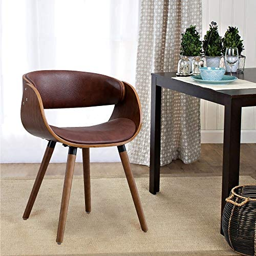 Living Room Chair Dining Chair Modern Living Accent Chair in PVC Leather Wrap Around Back and Walnut Wood Finish Brown