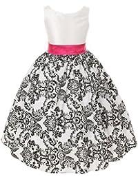 39c2d16c4f White Fuchsia Velvet Flocked Flower Girl Dress Girls 2T-12 · Kid s Dream