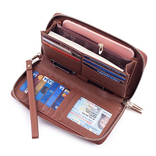 Price comparison product image Bricraft Women RFID Blocking Wallet Leather Wristlet Organizer Zip Around Clutch Dark Brown