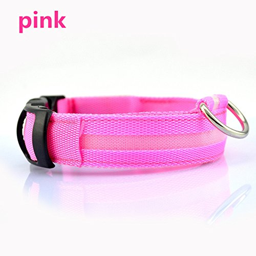 Hot Glow In The Dark Dog Collars Safety Led Light-Up Flashing Light-Emitting Pet Belt Doggie&Cat Neck Ring Necklace Chain^pink.XS (Bow Acc Green)