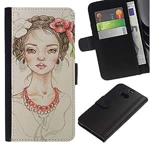 iBinBang / Flip Funda de Cuero Case Cover - Perla Beige Retrato Moda - HTC One M8