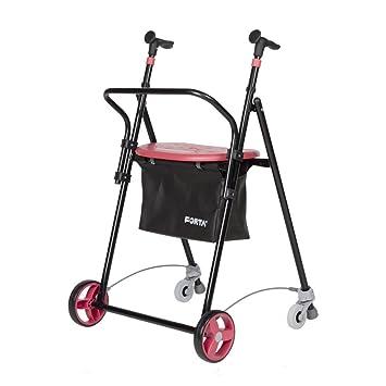 Andador para Ancianos, de acero plegable, con Frenos traseros, con Cesta Asiento y Respaldo, color Coral