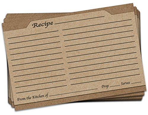 50 Pack 4x6 Double Sided Recipe Cards   Vintage Rustic Retro Kraft Design   Large Thick Easy-Write Card Stock   Wedding Bridal Shower Gift 4 x 6 by Braindango