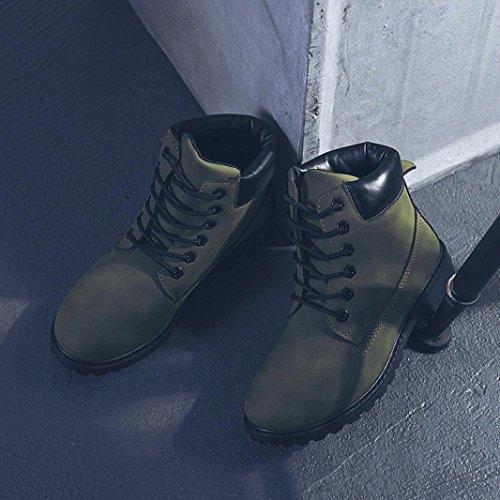 Invernali Cuoio Colorato Stile Boots Martin Verde Longra Artificiale Stivali Solido Donne Scarpe Casual Rqxw0A