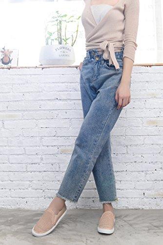 Mila Dam Emily Kvinnor Canvas Slip På Laserskurna Mode Sneakers, Naken