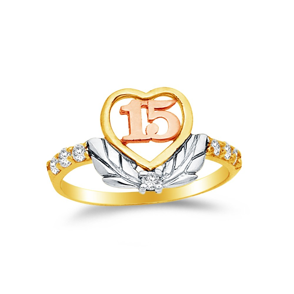 Size - 6 - 14k Rose Yellow & White Gold Highest Quality CZ Cubic Zirconia 15 Years Birthday Heart Ring