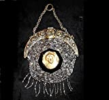 1901 Chatelaine Purse, Glinty, Shiny Silver Coated Black Jet Glass Handmade Beads, w/ Repousse Rose Top & Cameo, Tassel, 117 Years Old. One of a Kind!