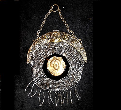 1901 Chatelaine Purse, Glinty, Shiny Silver Coated Black Jet Glass Handmade Beads, w/ Repousse Rose Top & Cameo, Tassel, 117 Years Old. One of a Kind! by EMENOW