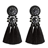 Statement Thread Tassel Earrings Enjoit Chandelier Drop Dangle with Cassandra Button Stud for Women(Black)