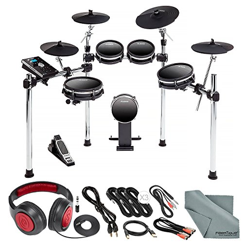 AlesisDM10 MKII Studio Kit, Nine-Piece Electronic Drum Kit with Mesh Heads Bundled with Samson Headphones, Cables, and Microfiber Cleaning Cloth