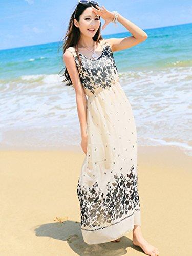 魅力的宝初期のMystin-jp レディース ワンピース ノースリーブ マキシ ウエストゴム ワンピ シフォン プリント 花柄 ドレス