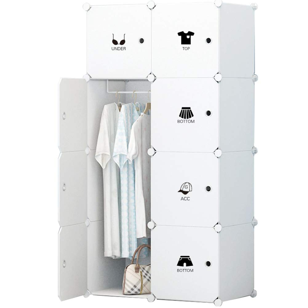 KOUSI Portable Clothes Closet Wardrobe Bedroom Armoire Dresser Cube Storage Organizer, Capacious & Customizable, White, 5 Cubes&1 Hanging Section