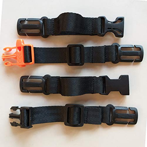 Amlrt 2 Pack Backpack Chest Strap- Nylon -Suitable for Webbing on The Backpack up to1in.(Black)