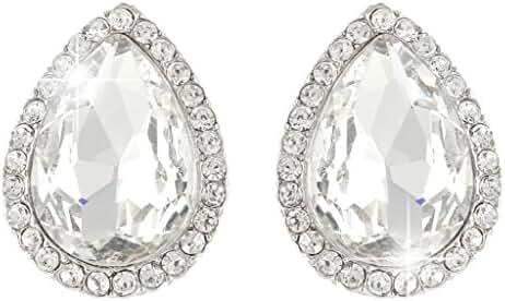 EVER FAITH Wedding Teardrop Stud Earrings Clear Austrian Crystal