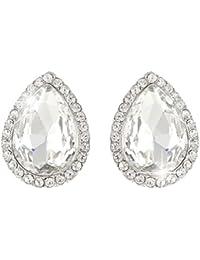 Women's Austrian Crystal Wedding Teardrop Stud Earrings